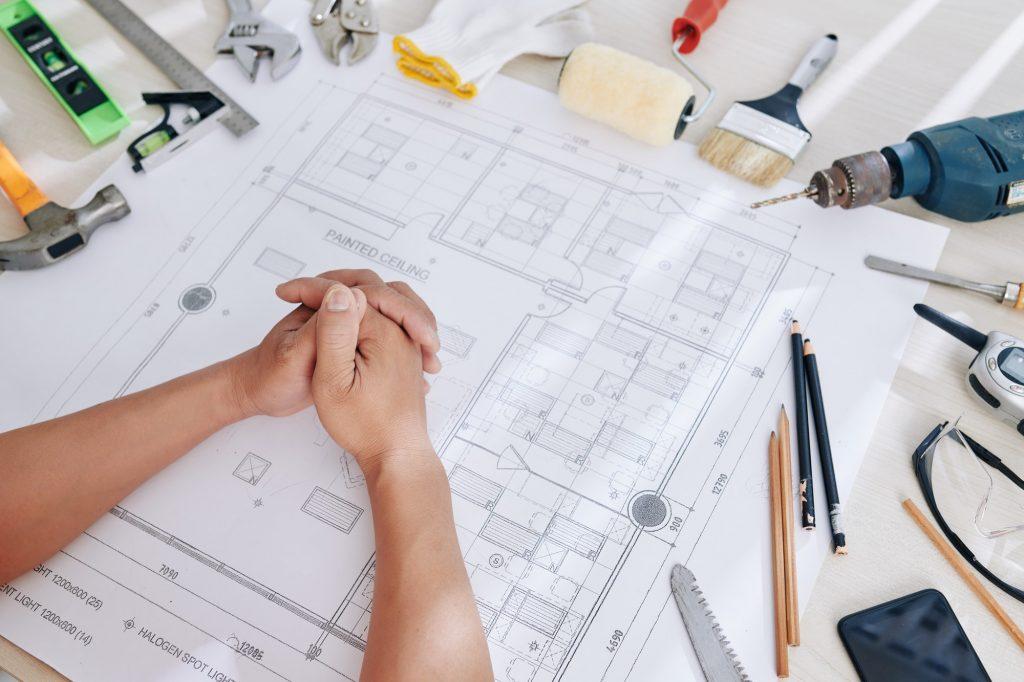 Desk of construction engineer